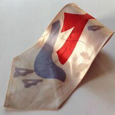 Vtg 1940s Swing Tie Cravat Beige Gray Red Rockabilly
