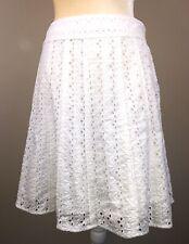 Ann Taylor Petites Women's White Eyelet Lined Skirt Sz 6P