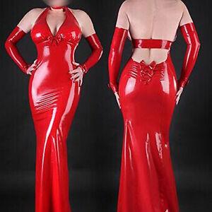 Special offer latex rubber red strapless dress sleeveless skirt Men M
