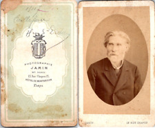 Jamin, Paris, Portrait de vieil homme aux beaux cheveux blancs Vintage CDV album