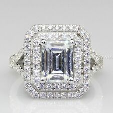 Double halo engagement ring 2.75 ct white Emerald Cut Diamond in 925 silver