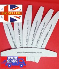 Nail Files 100/180 Grit Professional Quality-Half Moon-Curved-Diamond BUFFER
