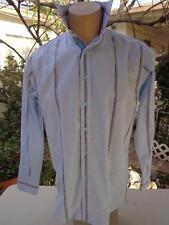 Gorgeous ROBERT GRAHAM Medium Dress Casual Paisley Flip Cuff Shirt Blue Striped