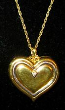 Locket Pendant Antique Large HEART GP Over Sterling Silver with Genuine Diamond