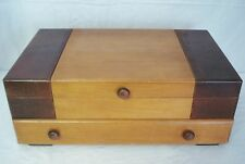 Vintage Flatware Storage Chest Box 1 Drawer 2 Tone Art Deco Retro Style