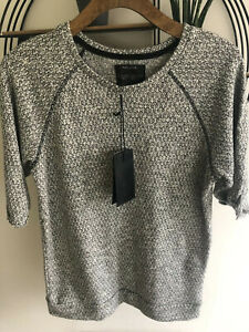 BNWT Mens Pull & Bear T Shirt Slouch Grey Boucle Knit 3/4 Sleeve Sz S Athlesuire