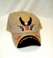 Guns, Money, & Freedom  Tan Colored Acrylic Ballcap
