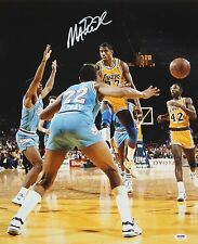Magic Johnson Autographed Lakers 16x20 Passing In Air Photo- PSA/DNA