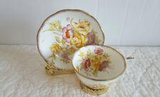 Gorgeous Vintage ROSLYN Floral Bouquet Fine Bone China Tea Cup and Saucer EUC