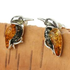 HONEY AND GREEN BALTIC AMBER KINGFISHER EARRINGS STERLING SILVER BRAND NEW BOXED