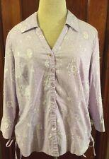 Valerie Stevens Women's Shirt Lavender W/Sequins Size Large Good Condition