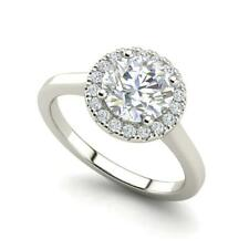 Pave Halo 0.65 Carat VVS1/D Round Cut Diamond Engagement Ring White Gold