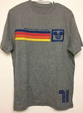 Vintage Walt Disney World Rainbow Mickey Men's Retro T-Shirt Gray tshirt Medium