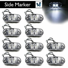 "10pcs 2.5"" Clearance White Oval LED Lamp 2 Diode Trailer Truck Side Marker Light"