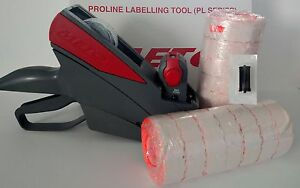 METO 822 PRICE LABELING GUN,  BOX FLURO RED LABELS, FREE INK ROLLER VALUE PACK