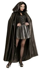 Deluxe Black Satin Long Hooded Cape Medieval Cloak Halloween Ladies Fancy Dress