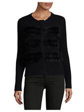 Ply Cashmere Black Rabbit-Fur Trimmed Cashmere Concealed Zip Sweater Cardigan XL