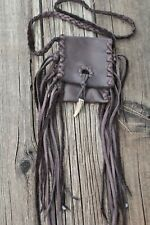 Brown medicine bag with fringe and an antler tip closure , Brown fringed necklac