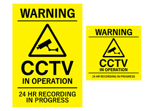 WARNING CCTV In Operation Yellow Black Sign (Large & Medium Sizes) +drill holes