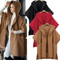 UK Womens Waterfall Batwing Sleeve Hooded Coats Jackets Outwear Poncho Cloak