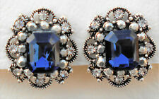 Clip-on silver tone dark blue and clear crystal earrings Approx.2 by 1.5cm
