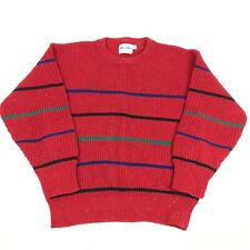 Vtg 90s Striped Speckled Knit Red Sweater Ribbed L Fashion Christmas Maine Gear