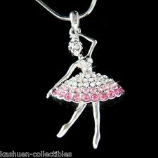 w Swarovski Crystal Pink BALLERINA Ballet Dancer Necklace 4 The Nutcracker Lover