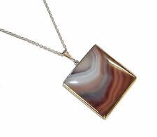 """Fully Hallmarked Sterling Silver & Agate Pendant & 16"""" Trace Chain (WAS £135)"""