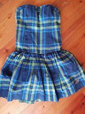 HOLLISTER Bustier Mini Kleid  blau grpn kariert XS