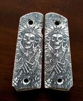 1911 custom engraved ivory grips native indian Grim Reaper Skull Skeleton
