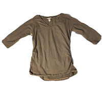 Women's SUNDANCE 3/4 Length Sleeve Top. Stretch. Side Ruching. Sz Med