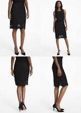 FLORAL LACE PENCIL SKIRT White House Black Market size 6 Black color NEW