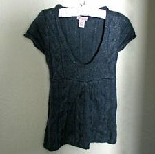 """""""JJ BASICS"""" GLIMMER GREY CABLE KNIT SHORT SLEEVE SWEATER TOP - JUNIORS SIZE SM"""