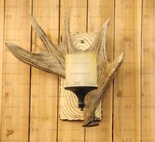 American Country Loft Resin Antler Sconce Natural Finish Pillar Shade Wall Lamp