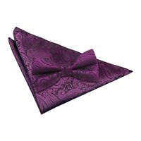Purple Mens Pre-Tied Bow Tie Hanky Wedding Set Woven Floral Paisley by DQT