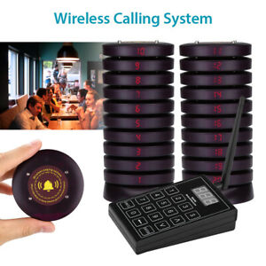 Restaurant Coaster Pagers Wireless Guest Waiter 20*Calling Paging Queuing System