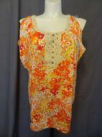 Lane Bryant crochet trim plus size 26/28 knit cold shoulders shirt top