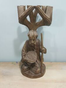 Beautiful hand carved wood sculpture: Man with staff kneeling under tree