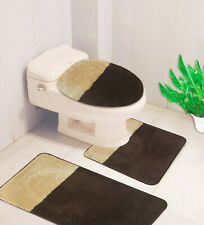 Bathroom Set Embossed Bath Mat Countour Rug Toilet Lid Cover 3Pc #7 Beige Brown
