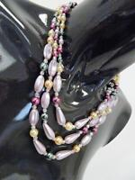 Vintage 1950s  Beaded 3 String Necklace Multi Colour  Deadstock   Kitsch   329 G