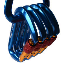 ALUMINUM CARABINER STEEL SCREW LOCKING D SHAPE 6700Lb NEW 30KN FOR CLIMBING HIKE