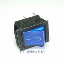 2 x Rocker Switch Blue ON/OFF DPST (with lamp) 16A 250VAC Panel Mount, Snap-In