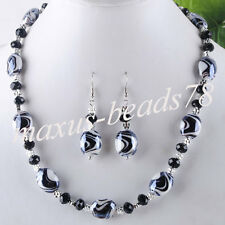 Black  Crystal Lampowrk Glass Oval Beads Gem Necklace Earrings Jewelry MM328