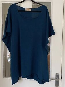 BRAND NEW GINGER TOBY TEAL COTTON MIX SCOOP NECK TUNIC TOP - ONE SIZE!!