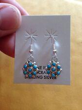 Native American Zuni Sterling Dangle Turquoise Earrings Delores Peina Cute!!