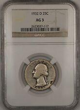 1932-D Washington Silver Quarter 25c Coin NGC AG-3 **KEY DATE**