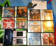 Nintendo DS Lite Console 2006 Pink Rose Adapter 10 Games Bundle Lot Stylus NERF