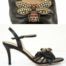 37.5 NEW $1,150 GUCCI Black Leather QUEEN MARGARET JEWELED BEE Bow SANDALS NIB