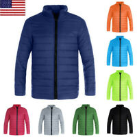 Men Winter Solid Color Hooded Thick Padded Jacket Slim Warm Zipper Outwear Coat