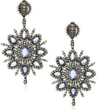 Victorian 925 Silver Dangler Earring 4.30ct Rose Cut Diamond Sapphire Antique